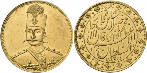 Iran gold coin mustache guy