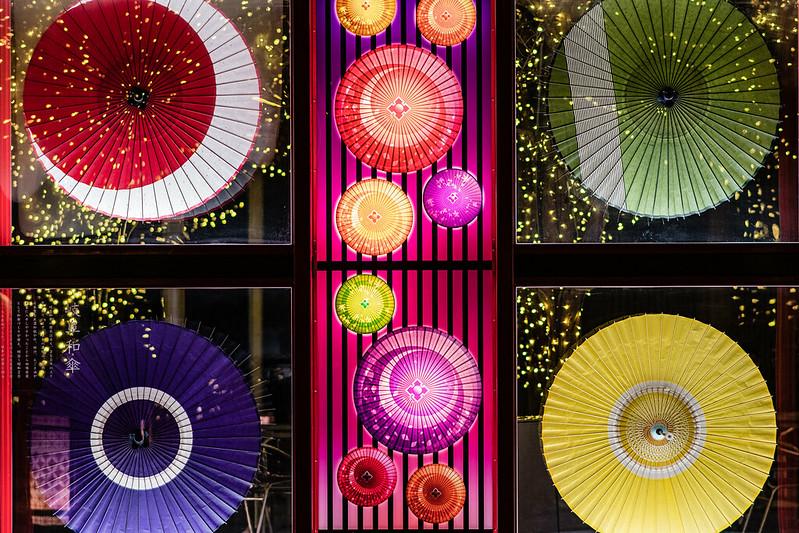 東京ドームシティの和傘のイルミネーション