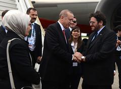 Llegada de Recep Tayyip Erdogan, presidente de Turquía