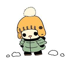 雪道を歩くむー