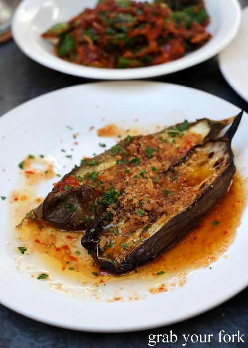 Baked eggplant with chilli and pangrattato at Totti's by Merivale in Bondi