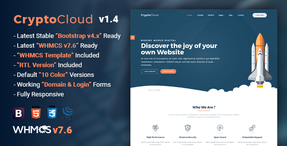CryptoCloud v1.4 - Multipurpose Hosting and WHMCS Template