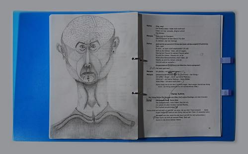 """Prompter Book Don Karlos  Page 95 - Version from the  rehearsals - Textbuch frühere Fassung aus der Probenzeit - K.: """"Glaube mir es wird ihn rühren. Er ist nicht ohne Menschlichkeit."""".... Ph.: """"Komm in die Arme deines Vaters""""  K.: """"Dein Geruch ist Mord"""""""