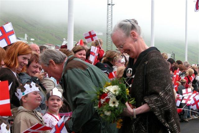 Queen Margrethe II in Vágur, Faroe Islands. Photo taken by Erik Christensen, Porkeri [http://www.psp-info.dk/faroe] on June 21, 2005.