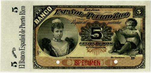 Lot 319. Banco Espanol De Puerto Rico, ND (1894) Specimen Banknote. Est.$2,500-$4,000