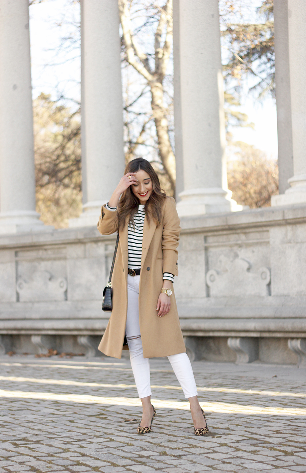 beige coat ripped jeans givenchy bag gucci belt street style outfit 20195