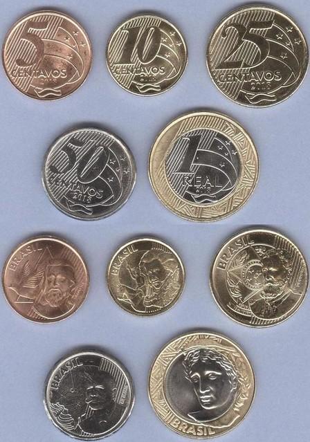 Brazília 5-10-25-50 Centavos + 1 Real 2018 UNC, sada mincí