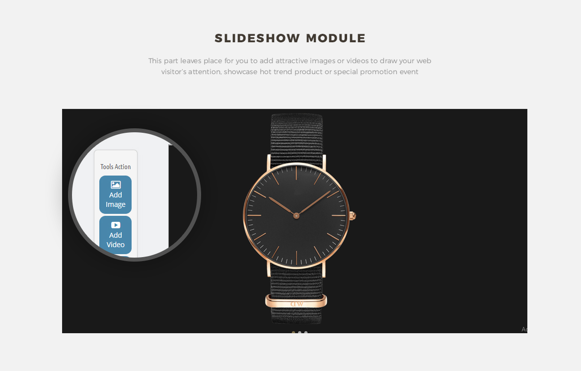 Slide show module for Fashion online store