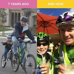 Seven years ago, pulled him along behind the bike a …