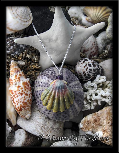 _ Amethyst Purple Hawaiian Moonrise Shell Necklace MonicaByTheShore Shells Hawaii copy