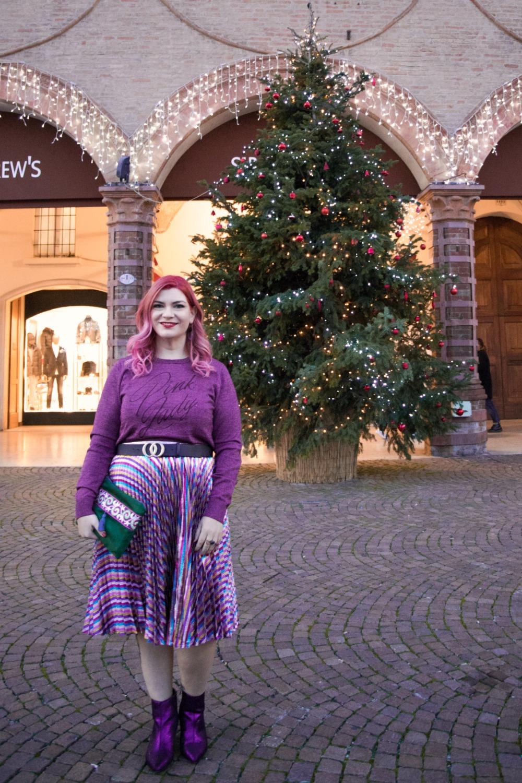 Outfit plus size, curvy, glitter, lamè e viola per Capodanno (8)