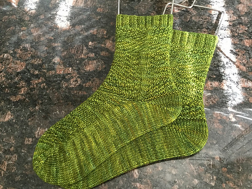 Nicole's Winter Gansey Socks by Knitting Expat knit with Hedgehog Sock in Swamp