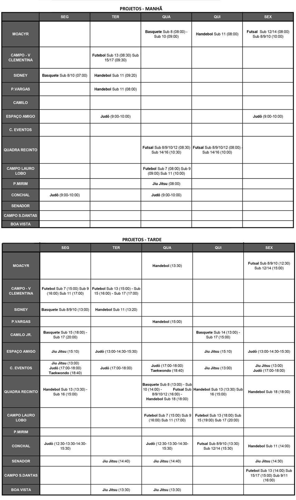 Calendário MODALIDADES PROJETO 2018 2019-1