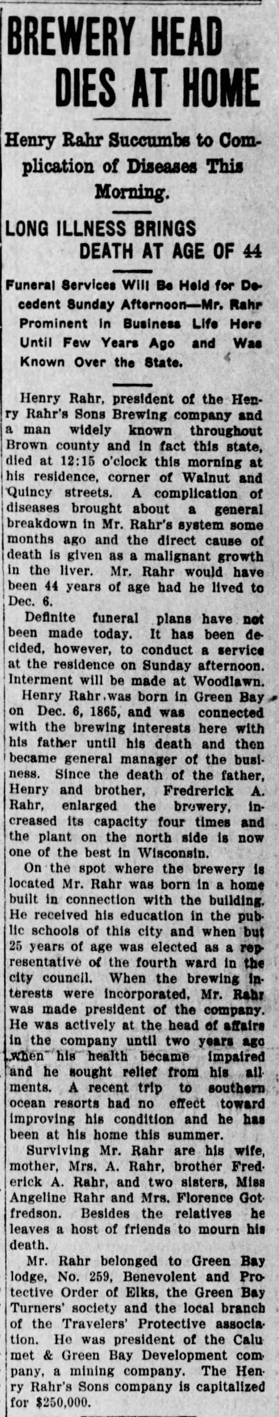 Rahr-obit-Green-Bay-Press-Gazette-24Sep1909