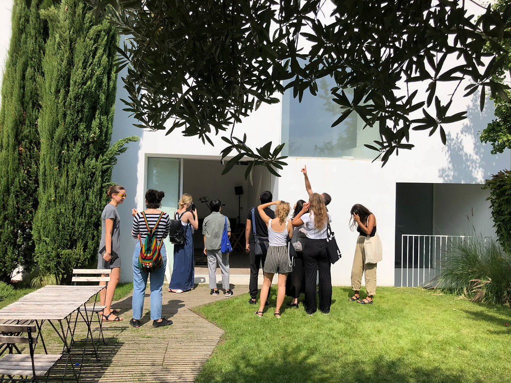 Architecture students traveling to Portugal view House Ajuda designed by Manuel Aires Mateus while Visiting Critic Rodolfo Reis Dia points out exterior qualities of the structure.   photo / Ihwa Choi (B.Arch. '20)
