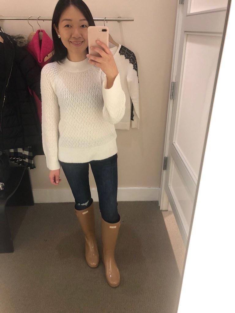 LOFT Stitchy Flare Sleeve Sweater, size XXSP