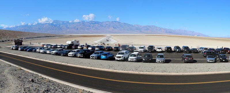 Panorama shot looking out over the Badwater parking lot, with Telescope Peak in the distance