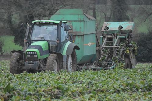 Deutz Fahr Agrotron TTV 1160 Tractor with an Armer Salmon Beever Twin Row Beet Harvester