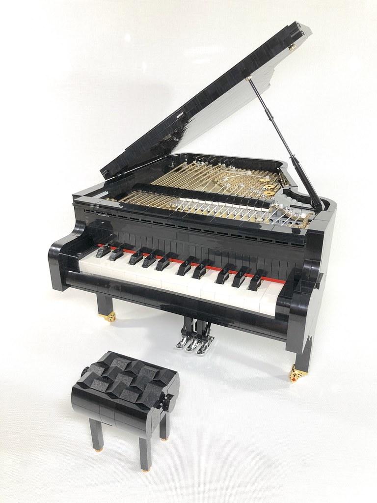 超優美鋼琴樂高化,內部細節、連動機構超驚人~~ SleepyCow 樂高MOC 作品【可彈的樂高三角鋼琴】Playable Lego Piano