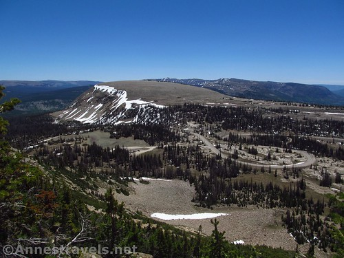 Looking back down on the parking area and Bald Mountain Pass from the Bald Mountain Trail, Uinta Mountains, Utah