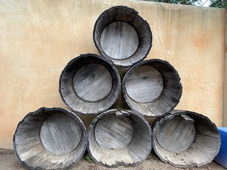 stacked wine barrel