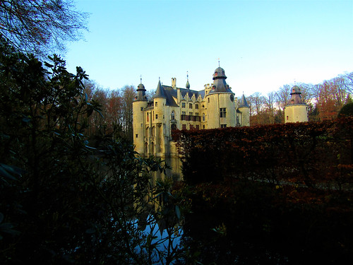 Castle with moat De Borrekens in Belgium