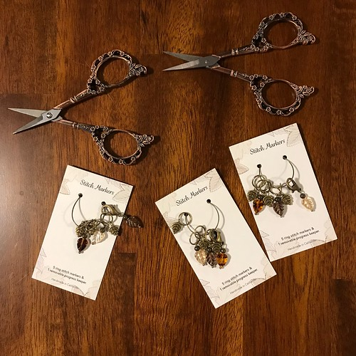 Victorian Scrollwork Scissors and Autumn Leaf Stitch Markers