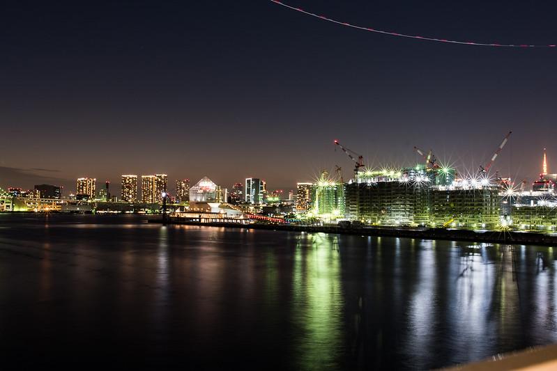 豊洲大橋から見た晴海の夜景