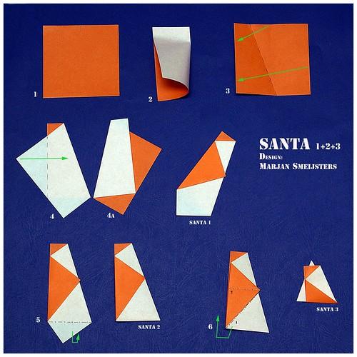 """Origami """"Santa 1+2+3"""" (Marjan Smeijsters)"""